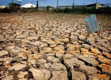 Memasuki musim kemarau banyak kolam ikan atau tambak dilanda kekeringan di kawasan Marunda, Jakarta Utara, Jumat (9/9). (Republika/Agung Supriyanto)