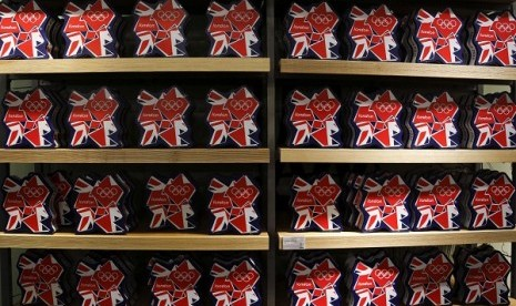 Olympic souvenirs are pictured at a department store outside the London 2012 Olympic Park at Stratford in London July 13, 2012. The London 2012 Olympics run from July 27 to August 12.