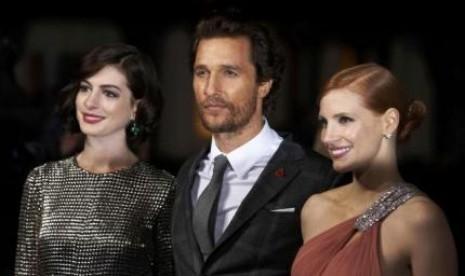 Para pemain Interstellar, Anne Hathaway, Matthew McConaughey, dan Jessica Chastain.