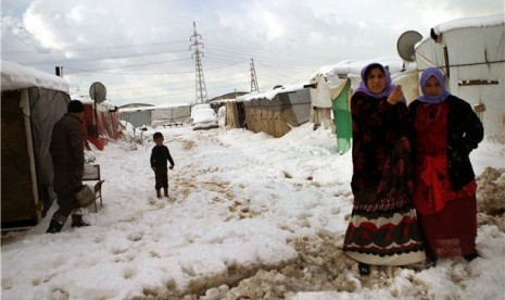 Pengungsi Suriah di Desa Al Marj, Lembah Bekaa, Lebanon.