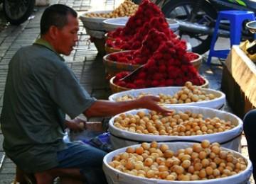 Penjual buah duku dan rambutan