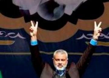 Perdana Menteri Palestina terpilih, Ismail Haniyah usai berpidato dihadapan ribuan rakyat Iran pendukung Palestina di Teheran, Minggu (12/2)
