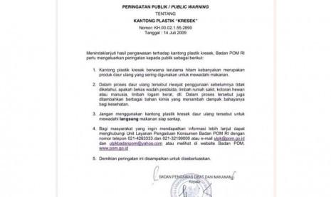 Peringatan publik tentang kantong plastik kresek dari BPOM