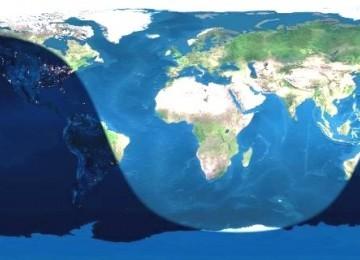 Peta negara-negara yang bisa menggunakan Qiblat Day/Yaumu Roshdil Qiblah.