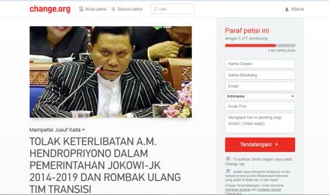 Petisi tolak keterlibatan AM Hendropriyono di Tim Transisi yang idbentuk Jokowi.