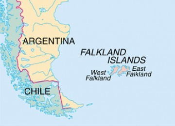 Pulau Falkland yang dipersengketakan Inggris dan Argentina. Argentina menyebut pulau itu, Pulau Malvinas
