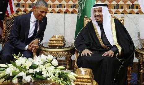 Raja Salman bertemu dengan Presiden AS Barrack Obama.
