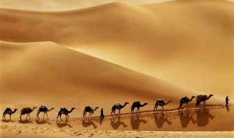 Rub al-Khali atau dikenal dengan Empty Quarter  di Semenanjung Arabia.