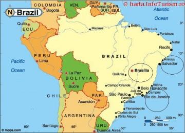 Salvador, Rio de Janeiro, dan Brasilia (ketiganya dilingkari), kota yang pernah menjadi ibu kota Brazil.
