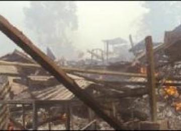 Sebagian bangunan milik PT SMM yang dirusak warga.