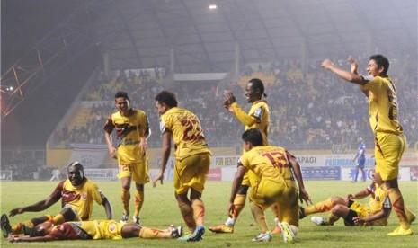 Sejumlah pemain Sriwijaya FC melakukan selebrasi. (ilustrasi)