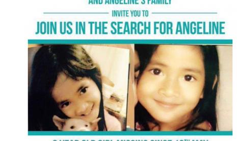 Selebaran pencarian bocah hilang Angeline yang tersebar di Twitter