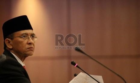 Suasana sidang isbat penetapan 1 Syawal 1434 H yang dipimpin oleh Menteri Agama Suryadharma Ali di kantor Kemenag, Jakarta, Rabu (7/8).   (Republika/ Yasin Habibi)