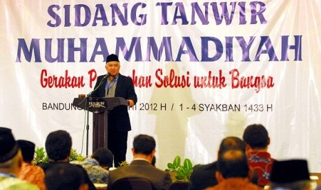 The Chairman of Muhammadiyah, Din Syamsuddin, during the closing ceremony of Muhammadiyah Convention  in Bandung, Sunday.
