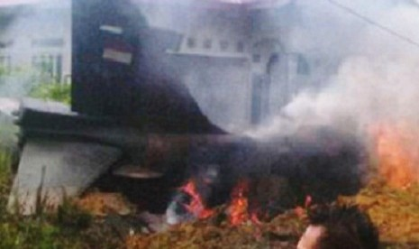 The smoke rises from the crashed Hawk-200 in Pekanbaru on Tuesday.