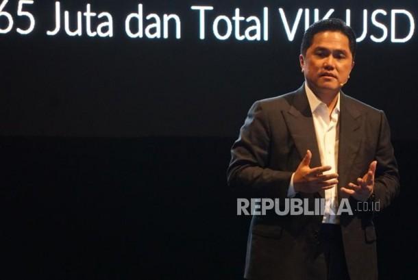 Ketua Inasgoc Erick Thohir menyampaikan paparan dalam acara laporan akhir tahun panitia pelaksanan ASIAN Games 2018 di Jakarta, Senin (11/12) malam.