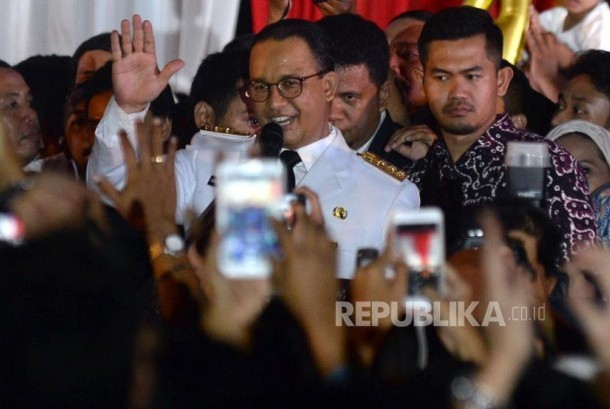 Jakarta governor Anies Baswedan delivered his first speech at City Hall, Jakarta, Monday (October 16) night.