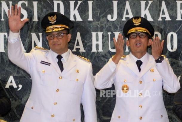 Governor of DKI Jakarta Anies Baswedan and deputy governor Sandiaga Uno