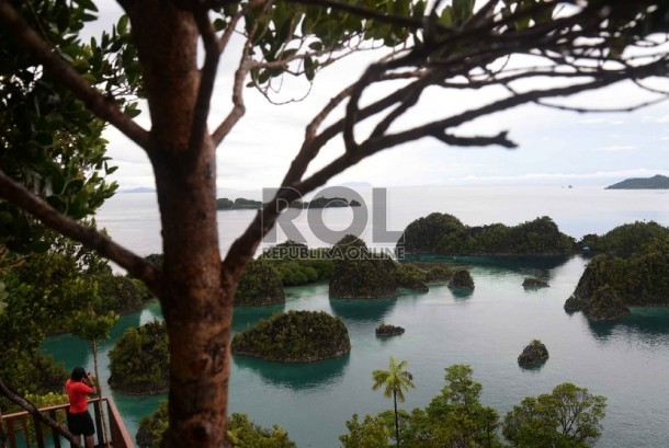 Wisatawan memotret kawasan wisata Piaynemo di Raja Ampat, Papua Barat.  (Republika/Yasin Habibi)