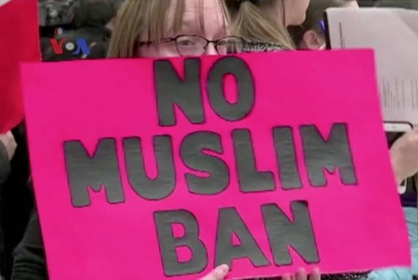 Aksi demo Travel Ban di AS (ilustrasi)