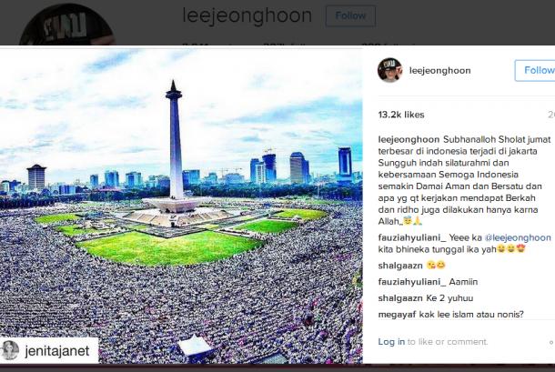 Akun artis kelahiran Korea, Lee Jeong Hoon yang mengomentari aksi 2 Desember di akun Instagram pribadinya, Jumat (2/12).