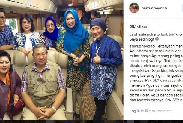 Ani Yudhoyono menjawab pertanyaan soal Agus mundur dari TNI.