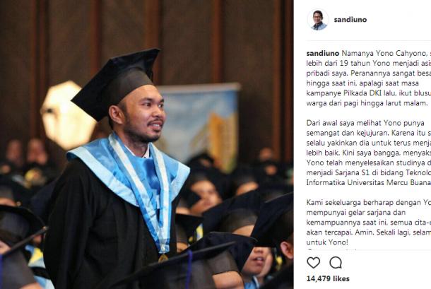 Asisten pribadi Sandiaga Uno, Yono Cahyono sedang wisuda sarjana, Rabu (26/7).