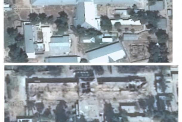 Citra satelit sebelum dan sesudah yang dirilis MSF menunjukkan bangunan utama RS di Kunduz, Afghanistan yang hancur dibom AS.