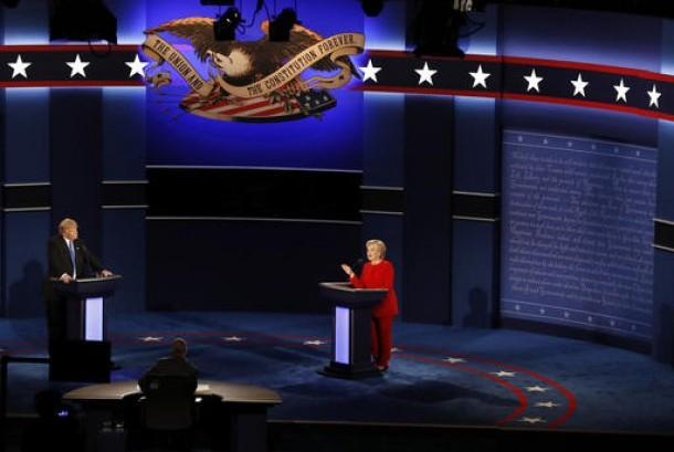 Debat calon presiden AS antara Donald Trump dan Hillary Clinton, Senin, 26 September 2016.