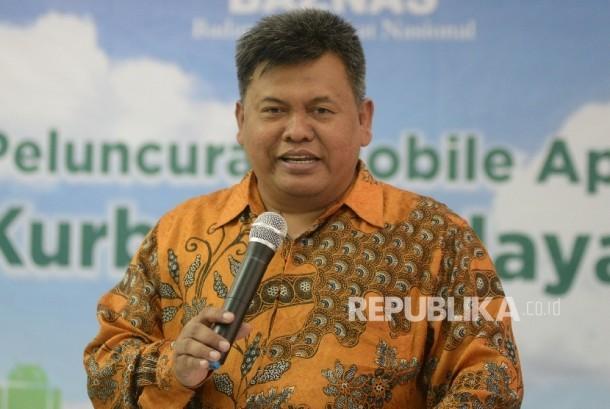 Direktur BAZNAS M Arifin Purwakananta memberikan paparan saat acara peluncuran Mobile Apps Kurban Berdayakan Desa di Kantor BAZNAS, Jakarta, Senin (21/8).