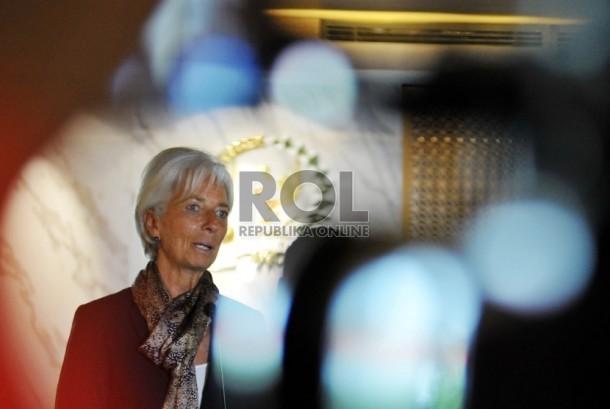 Direktur Pelaksana Dana Moneter Internasional (IMF) Christine Lagarde saat melakukan kunjungan di kantor DPR RI di Kompleks Parlemen, Senayan, Jakarta, Rabu (2/9).