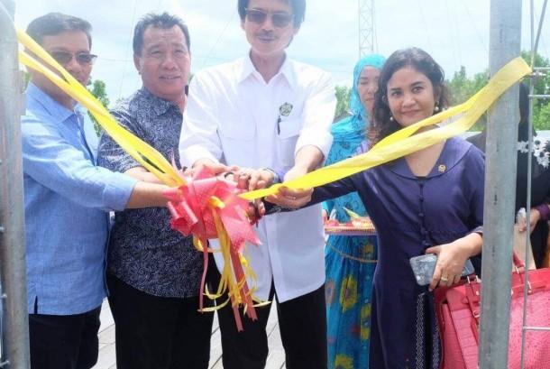 Dirjen EBTKE Kementerian ESDM Rida Mulyana (kedua kanan) dan Anggota Komisi VII DPR RI Ari Yusnita (kanan) saat meresmikan PLTS di Desa Liagu, Kecamatan Sekatak, Kabupaten Bulungan, Kalimantan Utara, akhir pekan lalu.