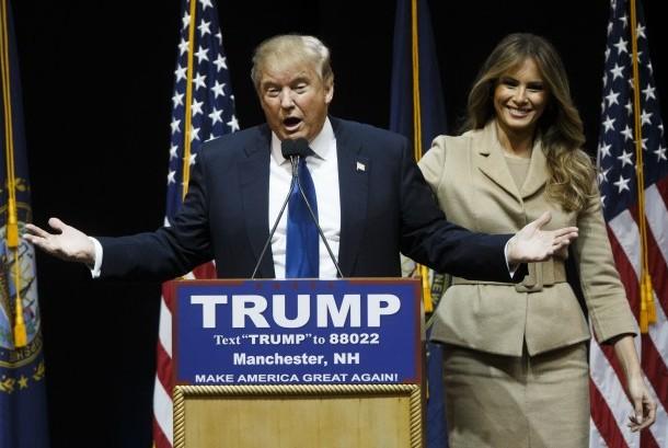 Donald Trump saat berkampanye ditemani istrinya Melania Trump