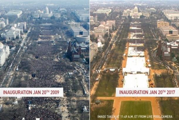 Dua foto perbandingan antusiasme publik Amerika Serikat (AS) saat Barrack Obama mengucapkan sumpah jabatan presiden AS pada 20 Januari 2009 dengan momen yang sama bagi Presiden Donald Trump.