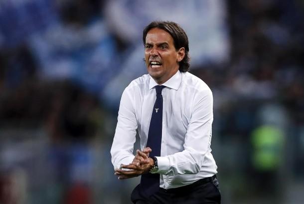Ekspresi pelatih Lazio, Simone Inzaghi pada laga Serie A lawan SPAL di Stadion Olimpico, Roma, Senin (21/8) dini hari WIB.