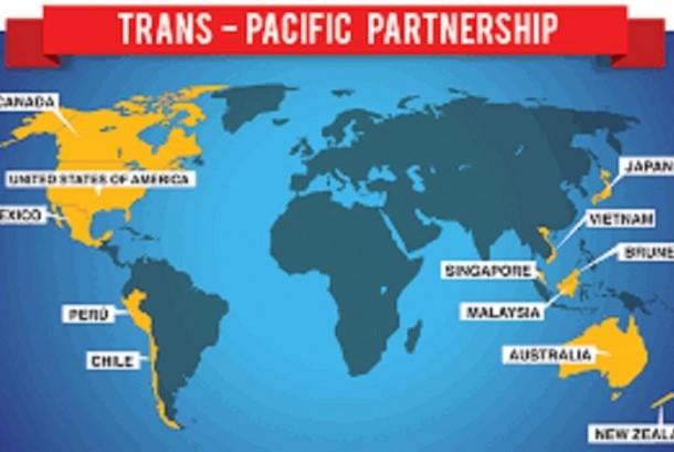 Peta negara yang bergabung di TPP
