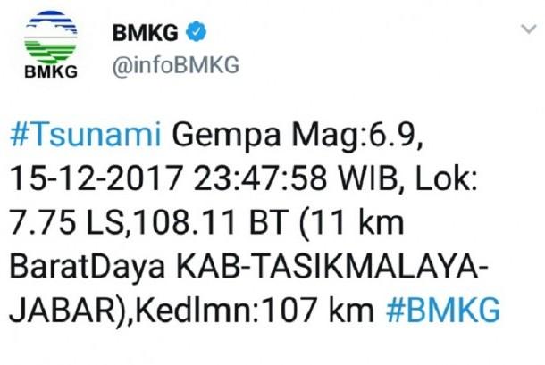 Gempa di pantai selatan Jawa Barat.
