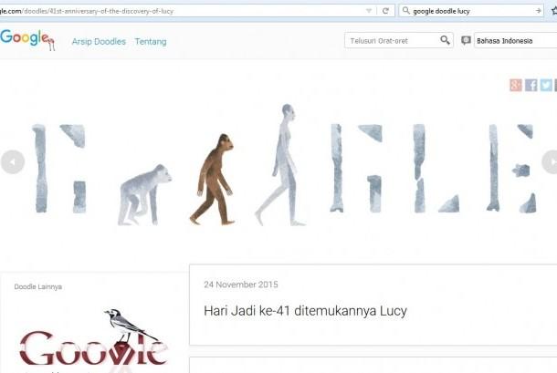 Google Doodle dengan tampilan Lucy Australopithecus
