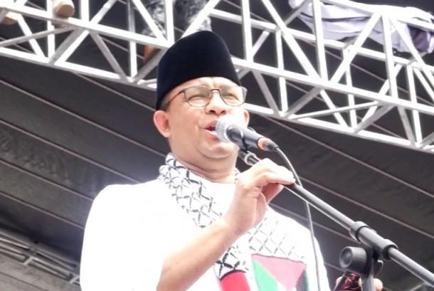 Gubernur DKI Jakarta di Aksi Bela Palestina, Ahad (17/12).
