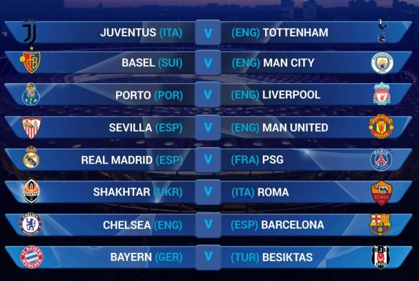 Hasil undian fase 16 besar Liga Champions musim 2017/2018