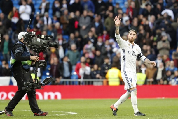 Kapten Real Madrid, Sergio Ramos seusai laga melawan Malaga di Santiago Bernabeu, Ahad (22/1) dini hari WIB. Madrid menang 2-1.