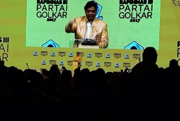 Ketua Umum Partai Golkar, Airlangga Hartarto resmi membuka Rapimnas Partai Golkar di JCC, Senayan, Jakarta, Senin (18/12).