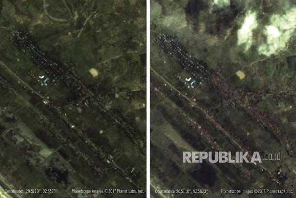 Kombinasi gambar satelit yang disediakan oleh Amnesty International / Planet Labs ini menunjukkan perbandingan 27 Agustus 2017, kiri, dan 11 September 2017, tepat, dimana Amnesty menunjukkan rumah-rumah Muslim Rohingya yang terbakar di desa Inn Din, Rakhine utara Negara, Myanmar (Ilustrasi)