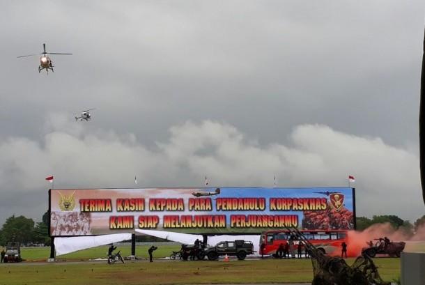 Korps Pasukan Khas (Korpaskhas) tengah memperingati hari ulang tahun ke-70 tahun di Lanud Adisucipto, Yogyakarta.