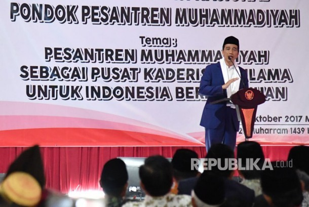 Kunjungan kerja Presiden Joko Widodo ke Pesantren Darul Arqam, Garut, Jawa Barat.