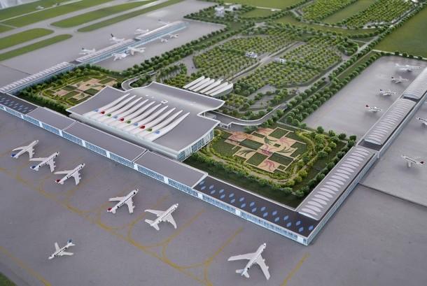 Lanskap maket proyek pembangunan Bandara Internasional Kertajati di Kabupaten Majalengka, Jawa Barat.