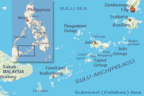Lokasi Provinsi Sulu di Filipina, sarang gerilyawan lokal Abu Sayyaf