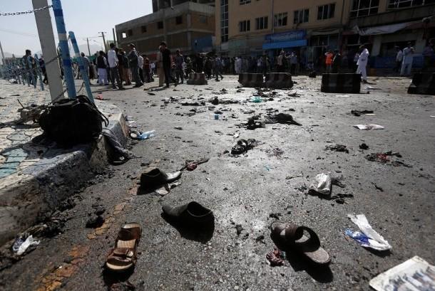Lokasi serangan bom di Kabul, Afghanistan, Sabtu (23/7).