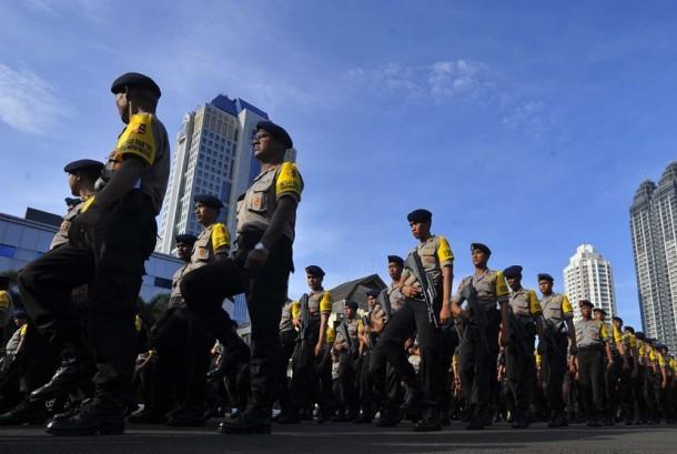 Aparat kepolisian siap mengamankan demo ormas. (ilustrasi)