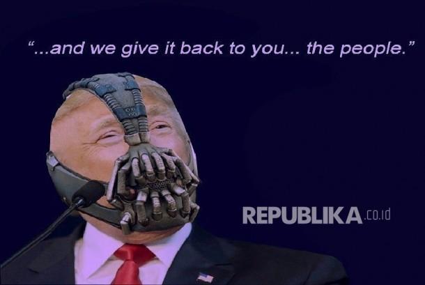 Meme yang menggabungkan Donald Trump dengan sosok penjahat Batman